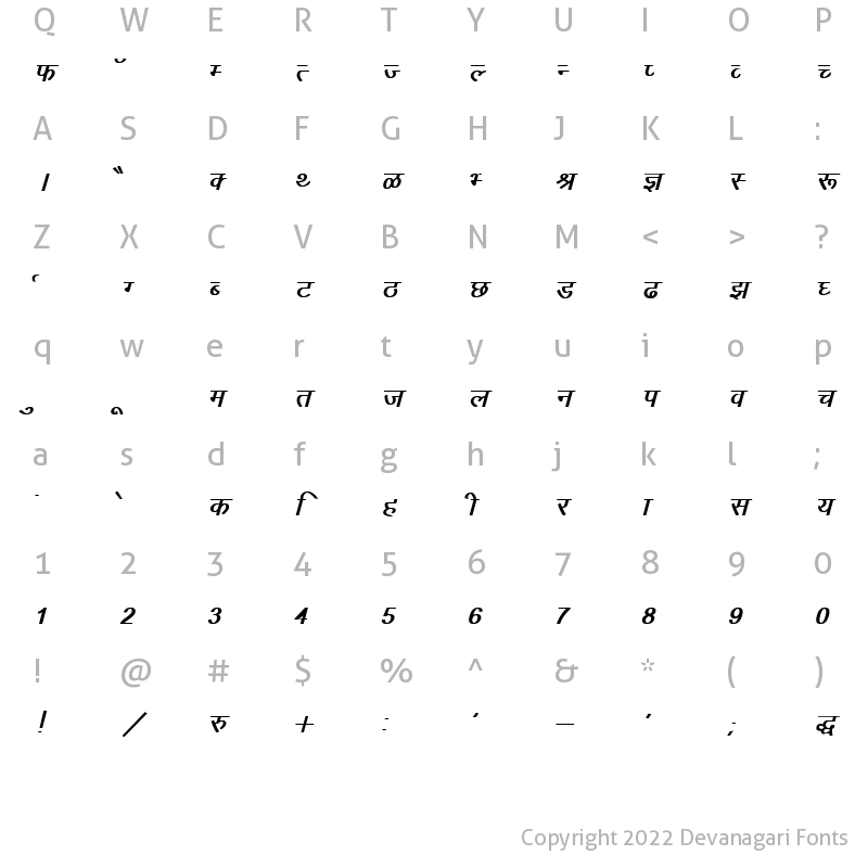 Character Map of DevLys 010 Bold Italic