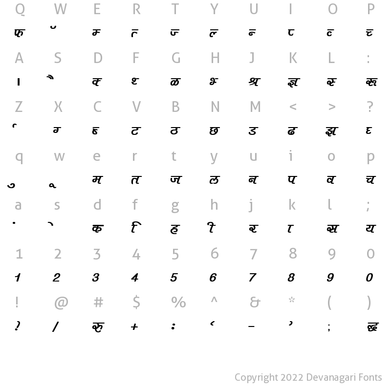 Character Map of DevLys 400 Bold