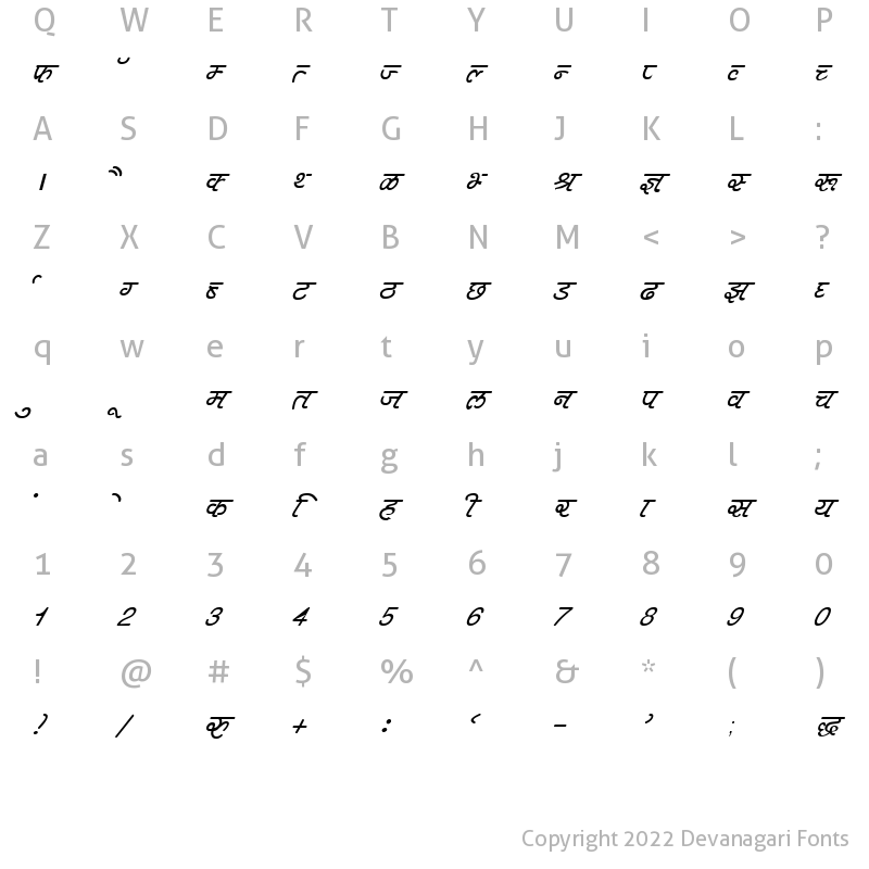 Character Map of DevLys 400 Italic