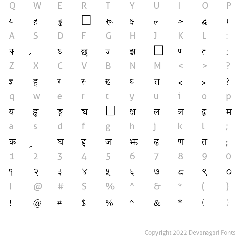 Character Map of Fontasy Himali Regular