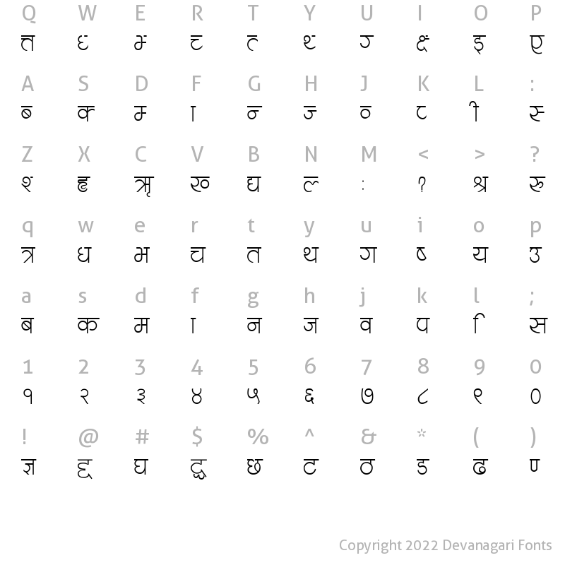 Character Map of Navjeevan Regular