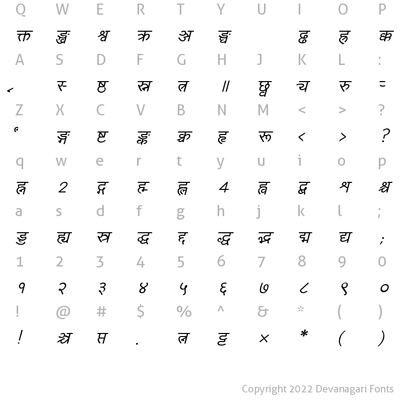 Character Map of Yogeshweb Italic